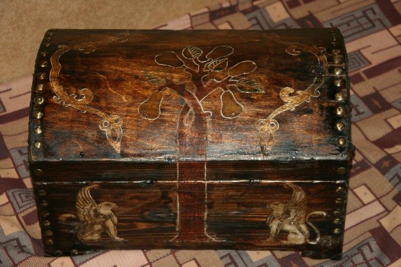 Старинный деревянный сундук своими руками 41