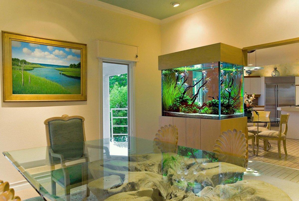 Интерьеры с аквариумом фото