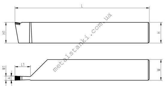 Размеры резца для наружных канавок