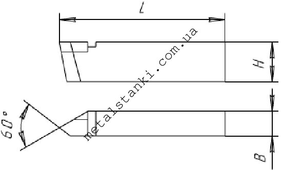 Размеры резьбового резца для наружной резьбы