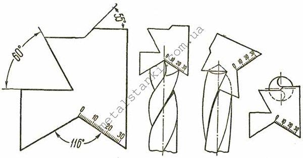Шаблон для проверки угла заточки сверла по металлу